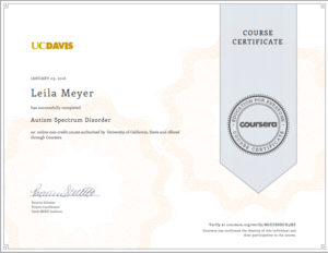 Autism Spectrum Disorder course from UC Davis on Coursera